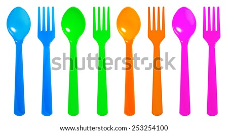 Colourful Disposable spoon and fork on isolate white background - stock photo