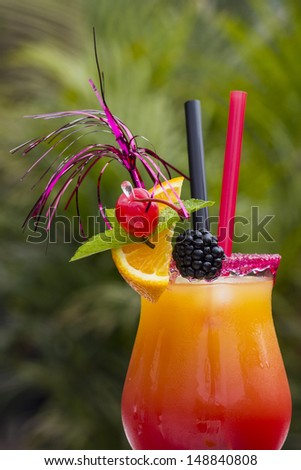 Colourful exotic Tequila Sunrise cocktail
