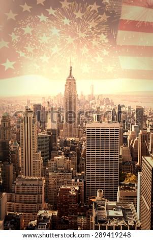Colourful fireworks exploding on black background against united states of america flag - stock photo