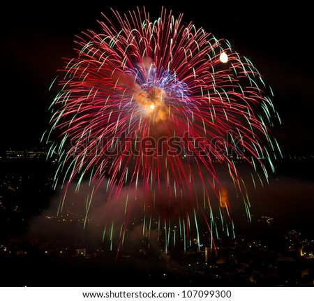 Colourful Fireworks with City lights