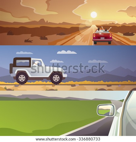 Colourful  flat banner set for your business, web sites etc. Quality design illustrations, elements and concept. Journey by car. Fans club trailering. Trip to Europe.