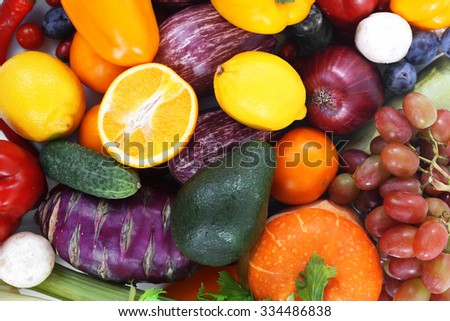 Colourful fruit and vegetable background - stock photo