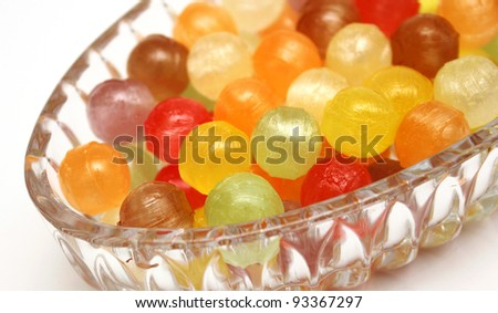 Colourful fruit flavoured hard candies - stock photo