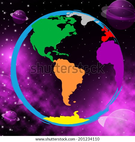 Colourful Global Indicating Solar System And Globally - stock photo