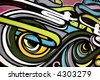 Colourful graffiti image spray painted on a wooden wall. - stock photo