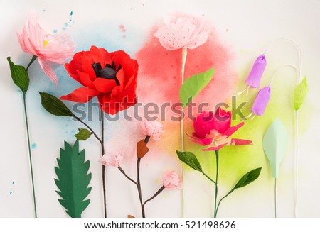 Colourful handmade paper flowers watercolor painting stock photo colourful handmade paper flowers and watercolor painting mightylinksfo
