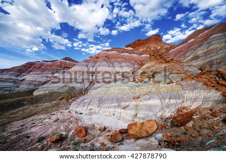Colourful Hills  in Old Paria Townsite, Grand Staircase-Escalante National Monument, Utah - stock photo