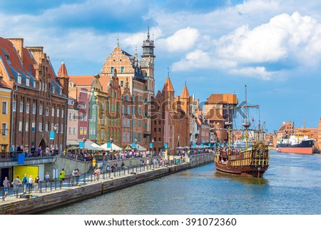 Colourful historic houses near Motlawa river in port of Gdansk, Poland. - stock photo