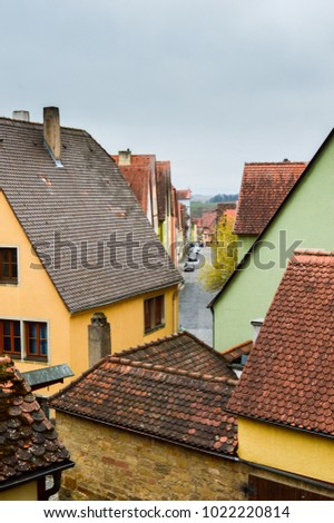 Colourful historic houses of Rothenburg ob der Tauber Germany