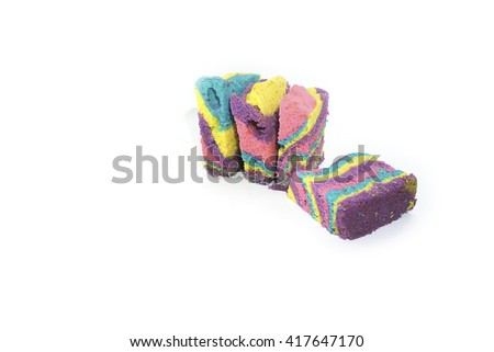 Colourful homemade cake  isolated on white background.