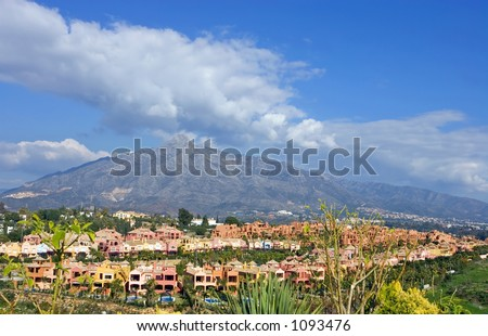 Colourful houses and homes at the foot of La Concha mountain in Marbella, Spain on the Costa del Sol