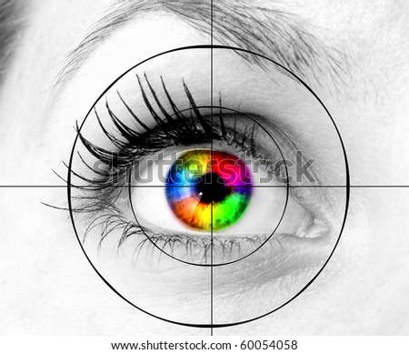 colourful human eye and target - stock photo