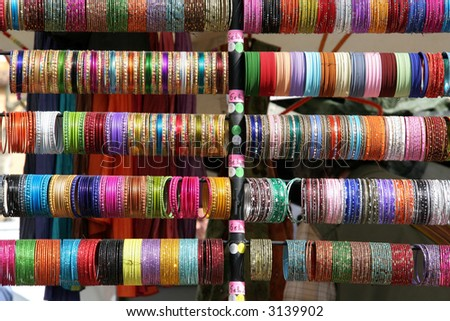 Colourful indian bangles on a market