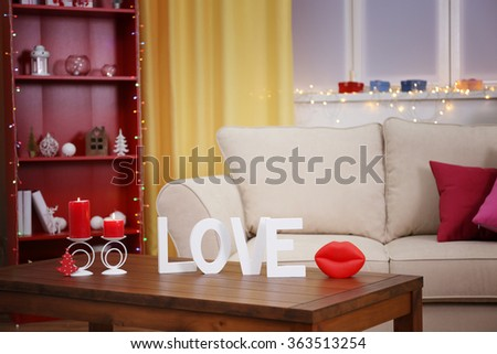 Colourful interior. Comfortable living room, close up - stock photo