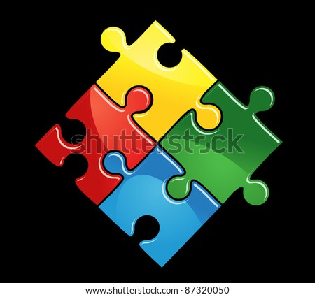 Colourful interlocked puzzle pieces in red, yellow, blue and green on a black background, vector illustration. Vector version also available in gallery - stock photo