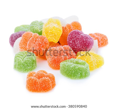 Colourful jelly candies close-up isolated on white background.