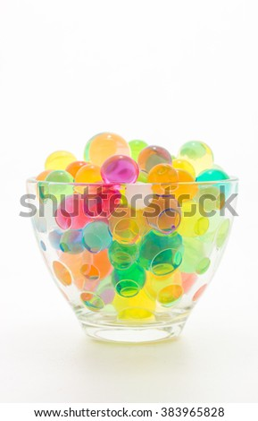 Colourful jelly in glass, isolated over white background