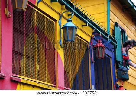 Colourful lamps in La Boca - stock photo