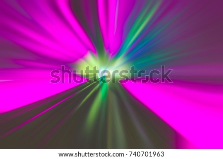 colourful light trails in train tunnel shot in Shanghai,China.