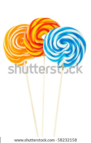 Colourful lollipop isolated on the white background - stock photo