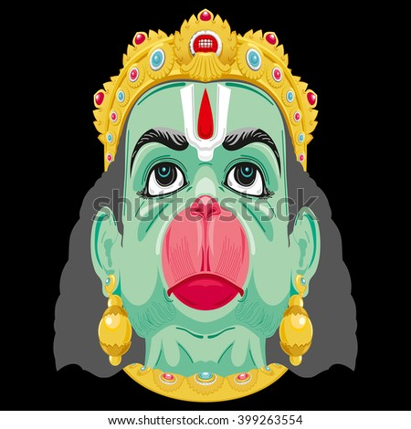 Colourful mask of Lord Hanuman, A mask is an object normally worn on the face