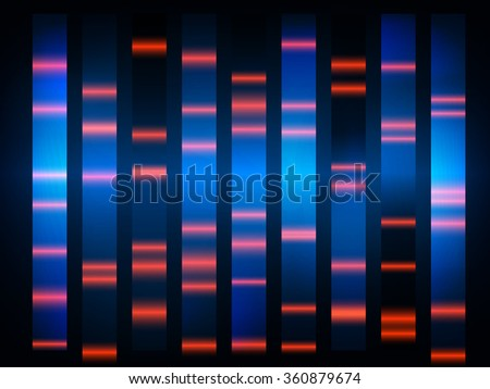 colourful medical dna results with black background - stock photo