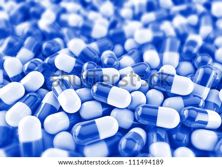 colourful medical pills background render in blue with photo blur