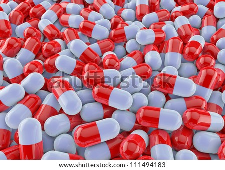 colourful medical pills background render in red