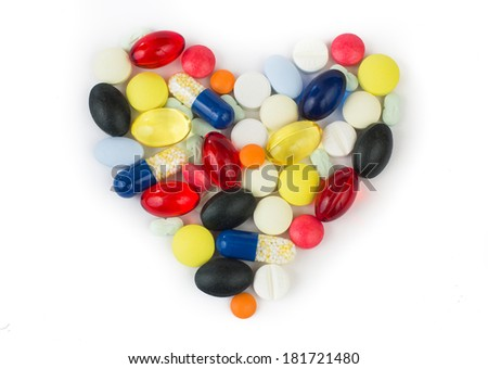colourful medications on white background - stock photo
