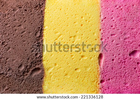 Colourful Neapolitan ice cream background and texture - stock photo