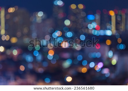 Colourful of city light after sunset - stock photo