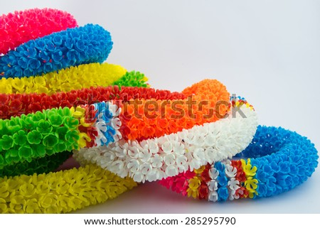 colourful of  plastic flower  garland - stock photo