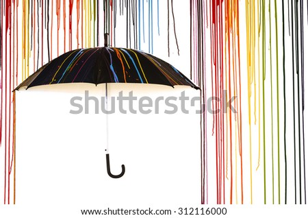 colourful paint dripping with black umbrella isolated on white background - stock photo
