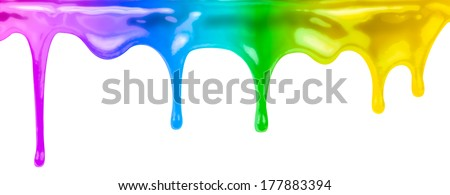 colourful paints dripping isolated on white - stock photo
