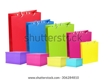 Colourful paper shopping bags and box isolated on white - stock photo