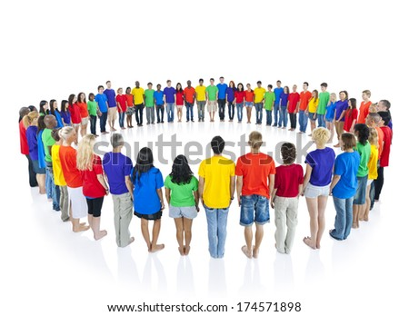 Colourful people in a circle - stock photo