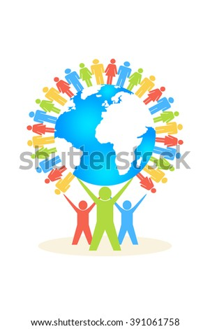 Colourful people with colourful people around world globe  - stock photo