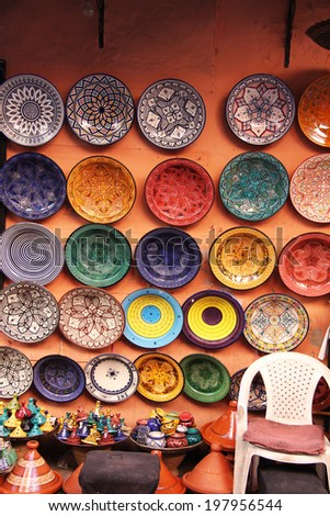 Colourful plates and Tajine pots in the market in Marrakech, Morocco