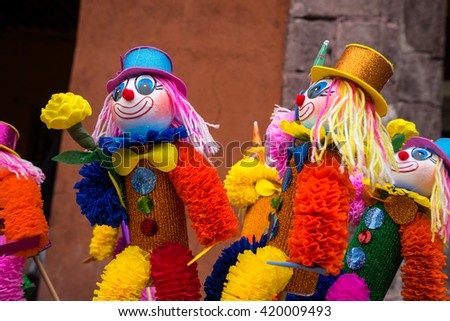 colourful puppets for sale in mexico at street vendors