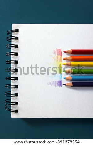 Colourful rainbow sketching pencils