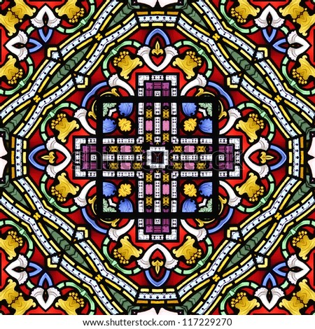 Colourful seamless stained glass window panel - stock photo