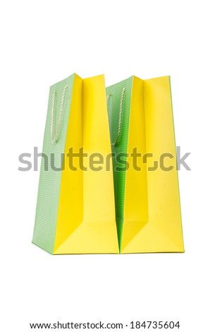 Colourful shopping bags isolated on white
