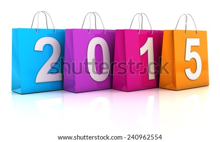 Colourful shopping bags with 2015, 3d render - stock photo