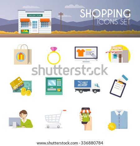 Colourful shopping icon set for your business, web sites, presentations, advertising etc. Quality design illustrations, elements and concept. Flat icons. - stock photo
