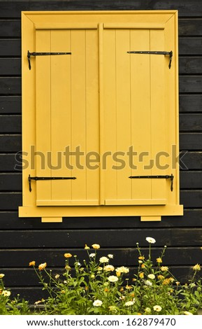 Colourful shuttered window