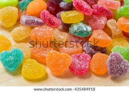 Colourful sugary candy heart shape - stock photo