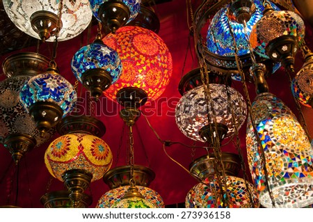 Colourful turkish lanterns on the Grand Bazaar in Istanbul, Turkey