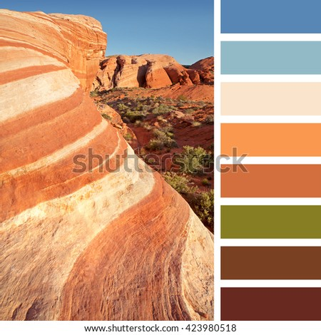 Colourful wave rock formation in the Valley of Fire state park, near Las Vegas, Nevada, USA. In a colour palette with complimentary colour swatches. - stock photo