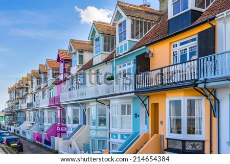 Colourful Whitstable houses - stock photo