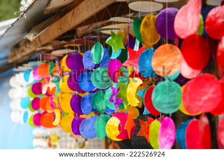 Colourful wind chime - stock photo
